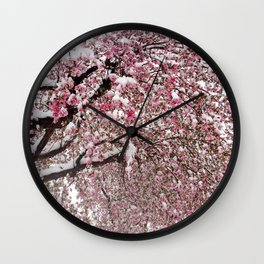 Elegant pink white nature snow cherry blossom floral Wall Clock