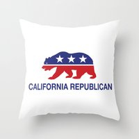 political Throw Pillows featuring California Political Republican Bear  by Republican