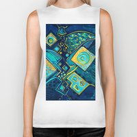 sparkles Biker Tanks featuring GALAXY SPARKLES BLUE by Deyana Deco