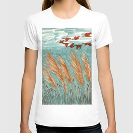 Geese Flying over Pampas Grass T-shirt