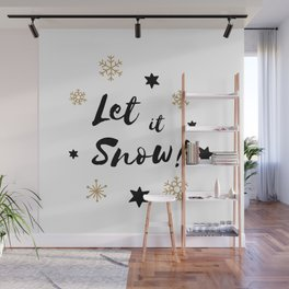 Let it Snow! Calligraphy Christmas, Stars and Snowflakes Wall Mural