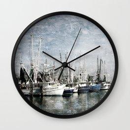 Shrimp Boats at the Harbor Wall Clock