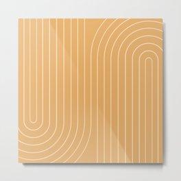 Minimal Line Curvature - Orange Metal Print