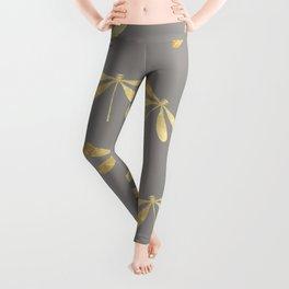 dragonfly pattern: gold & grey Leggings