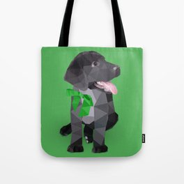 Low Polygon Black Labrador - Green Bow Tote Bag
