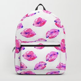 Watercolor pink lips pattern Backpack