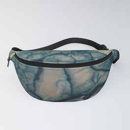 Blue Universe abstract painting in blue and white Fanny Pack