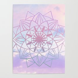 Star Mandala Unicorn Pastel Clouds #1 #decor #art #society6 Poster