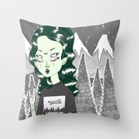 loll3 Throw Pillows featuring ☽ ZELINA ☾ by lOll3