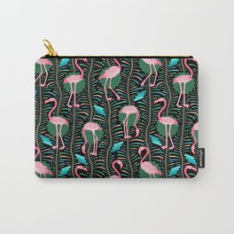 Flamingo Ferns Tropical Art Deco Black Pink Pattern Carry-All Pouch
