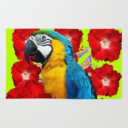 Chartreuse Red Hibiscus Flowers & Blue Macaw Parrot Rug