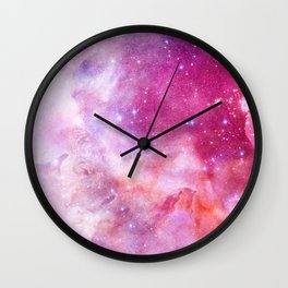 Blush Pink and Ultra Violet Celestial Galaxy Wall Clock