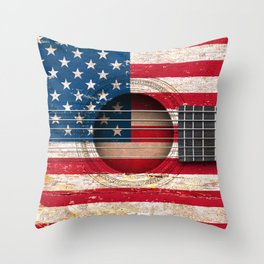 Old Vintage Acoustic Guitar with American Flag Throw Pillow