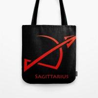 sagittarius Tote Bags featuring Sagittarius by Groovyal