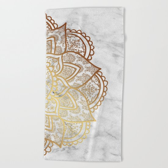 Mandala - Gold & Marble Beach Towel