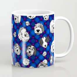 Navy Plaid Furbaby faces Coffee Mug