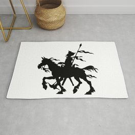 Don Quixote of La Mancha and Rocinante | Don Quixote Silhouette | Black and White | Rug