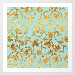 Golden Damask pattern Art Print