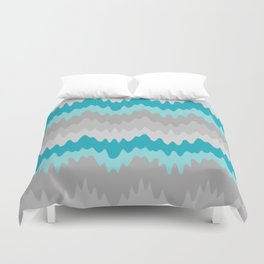 Teal Turquoise Blue Grey Gray Chevron Ombre Fade Zigzag Duvet Cover