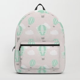 Hand painted mauve pink green white hot air balloons pattern Backpack