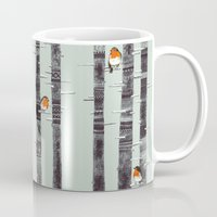 trees Mugs featuring Robin Trees by Sandra Dieckmann
