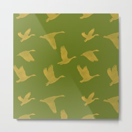 Flying Birds Pattern | Green Mood Metal Print