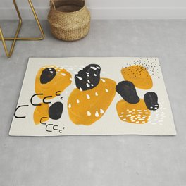 Mid Century Modern Abstract Vintage Colorful Shapes Yellow black Leopard Spots Rug