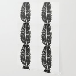 Black feather painting - abstract black feather Wallpaper