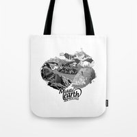 middle earth Tote Bags featuring Middle Earth New Zealand by Guiso