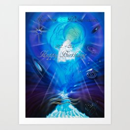 Zodiac sign Aquarius  Happy Birthday 3 Art Print