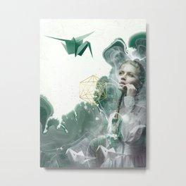 Emerald Paper Cranes Metal Print