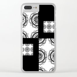 Black and White Rounded Mandala Patch Textile Clear iPhone Case
