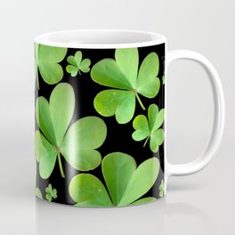 Clovers on Black Coffee Mug
