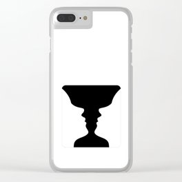 Two faces side by side- illusion of a vase also called Rubins vase Clear iPhone Case