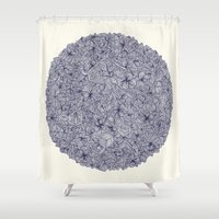 bedding Shower Curtains featuring Held Together - a pattern of navy blue doodles by micklyn