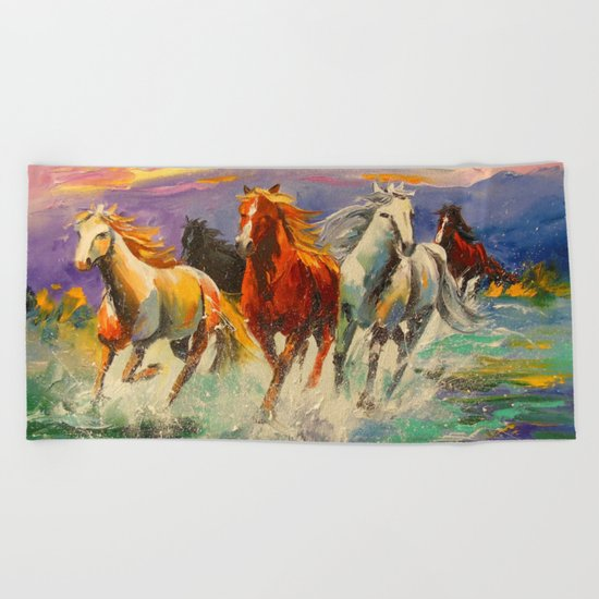 A herd of horses Beach Towel