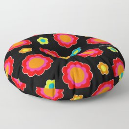 Colorful Flowers on Black Floor Pillow