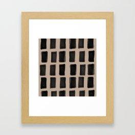 Brush Strokes Vertical Lines Black on Nude Framed Art Print