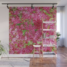 GREEN & FUCHSIA PINK CRABAPPLE FLOWER SPRING ART Wall Mural