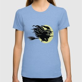 Flying Witch On Broomstick With A Big Moon T-shirt