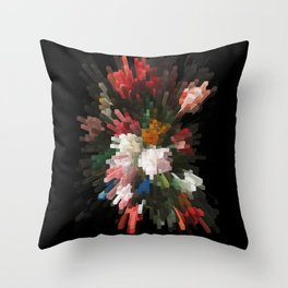 Abstract dark pixel flowers Throw Pillow