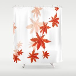 Falling red maple leaves watercolor painting Shower Curtain