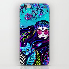 Girl and blue cat iPhone Skin
