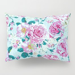 Vintage modern pink green teal watercolor floral Pillow Sham