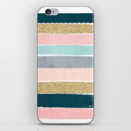 Zara - minimal gold navy pink pastel stripes painterly boho decor trendy gifts iPhone Skin