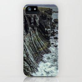 Waves hitting basalt cliffs of Iceland iPhone Case