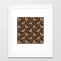 sloths Framed Art Prints featuring Sloths on chevrons by Petits Pixels