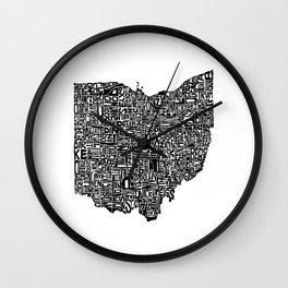 Typographic Ohio Wall Clock