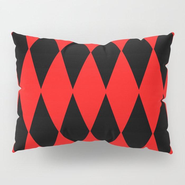 LARGE RED AND BLACK  HARLEQUIN DIAMOND PATTERN Pillow Sham