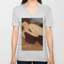 "Amedeo Modigliani ""Reclining Nude from the Back (Nu couché de dos)"" Unisex V-Neck"